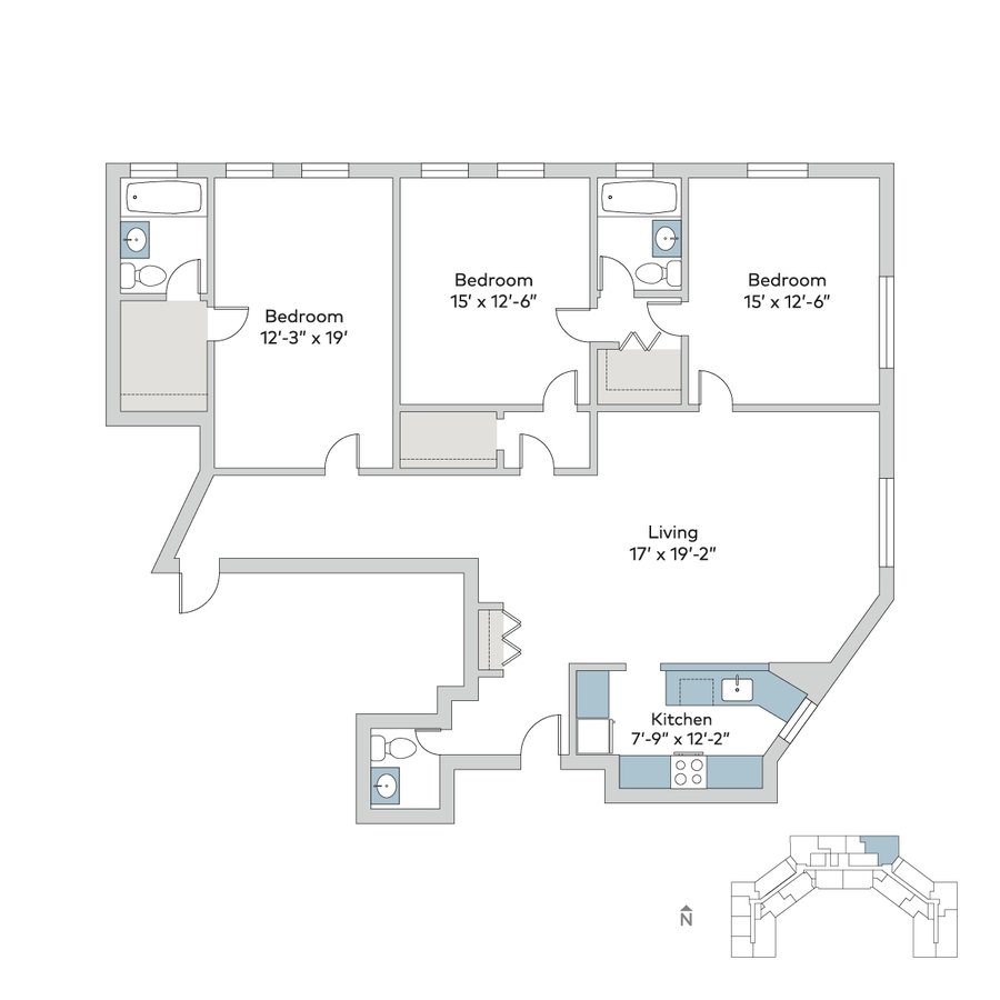 3 Bedrooms 2 Bathrooms Apartment for rent at Windermere House in Chicago, IL
