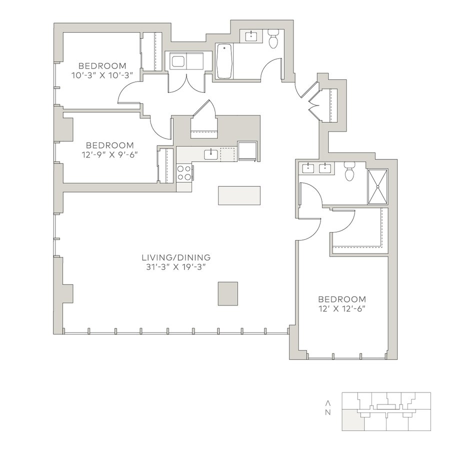 3 Bedrooms 2 Bathrooms Apartment for rent at Solstice on the Park in Chicago, IL