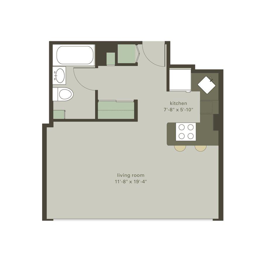 Studio 1 Bathroom Apartment for rent at Algonquin Apartments in Chicago, IL
