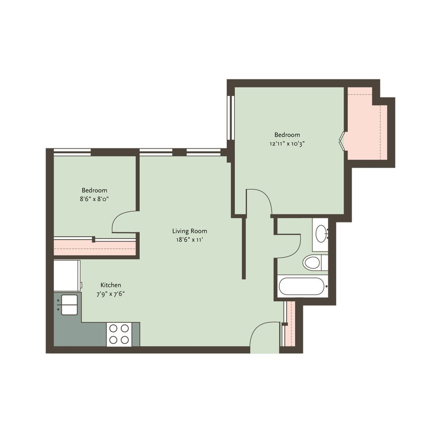 2 Bedrooms 1 Bathroom Apartment for rent at The Blackwood in Chicago, IL