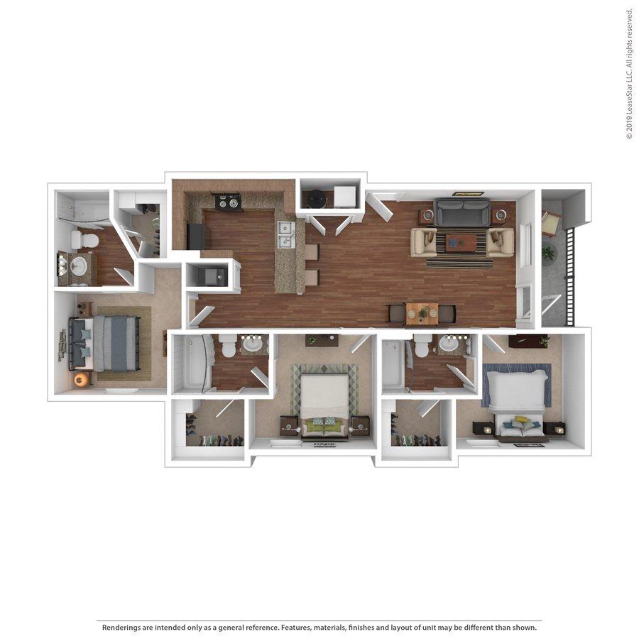 3 Bedrooms 3 Bathrooms Apartment for rent at 18 Seventy Nine in Huntsville, TX