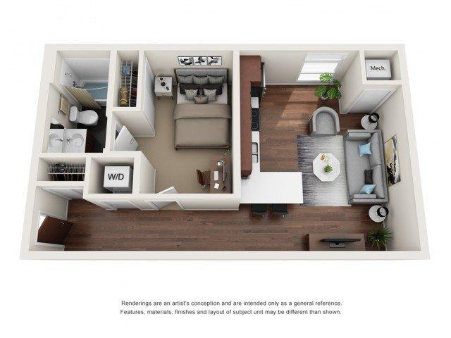 Studio 1 Bathroom Apartment for rent at WaHu in Minneapolis, MN