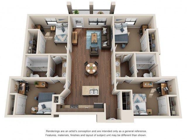 4 Bedrooms 2 Bathrooms Apartment for rent at Campus Edge Huntsville in Huntsville, TX