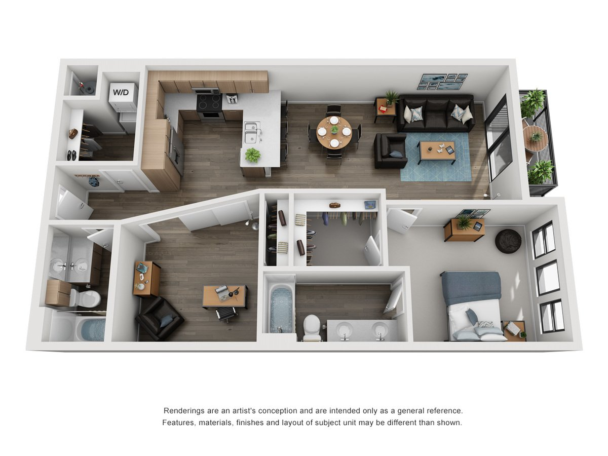 2 Bedrooms 2 Bathrooms Apartment for rent at Elevate at Pena Station in Denver, CO