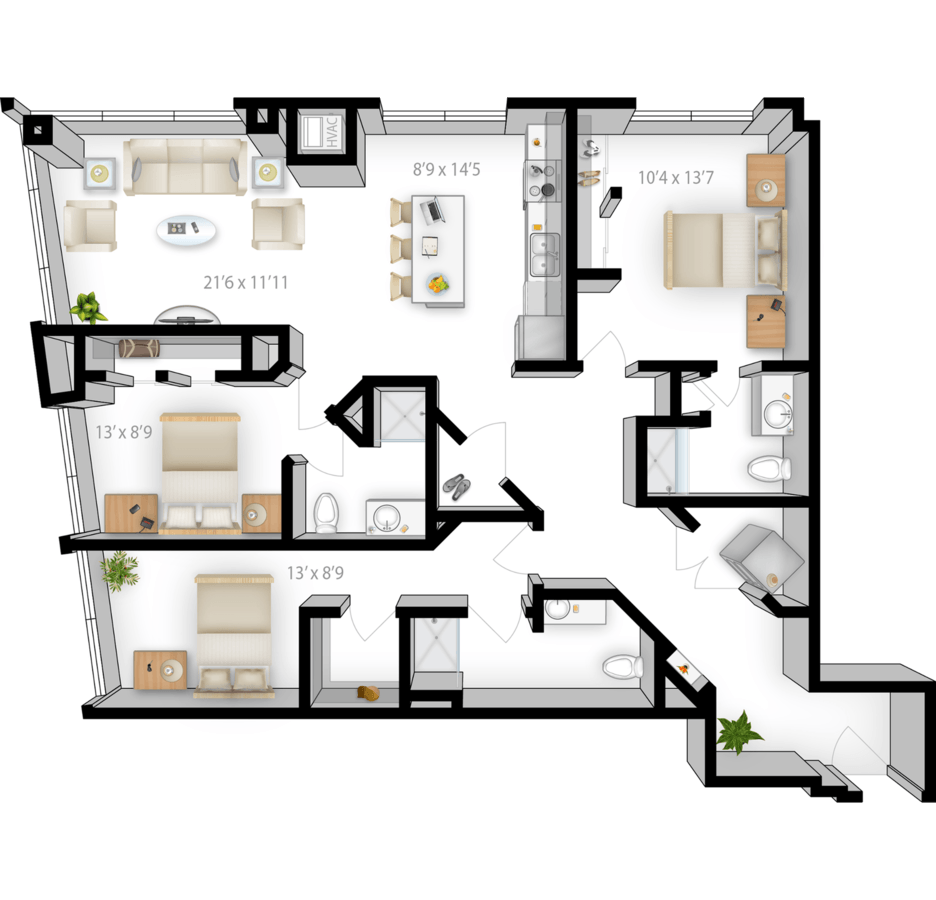 3 Bedrooms 3 Bathrooms Apartment for rent at The Bridges in Minneapolis, MN