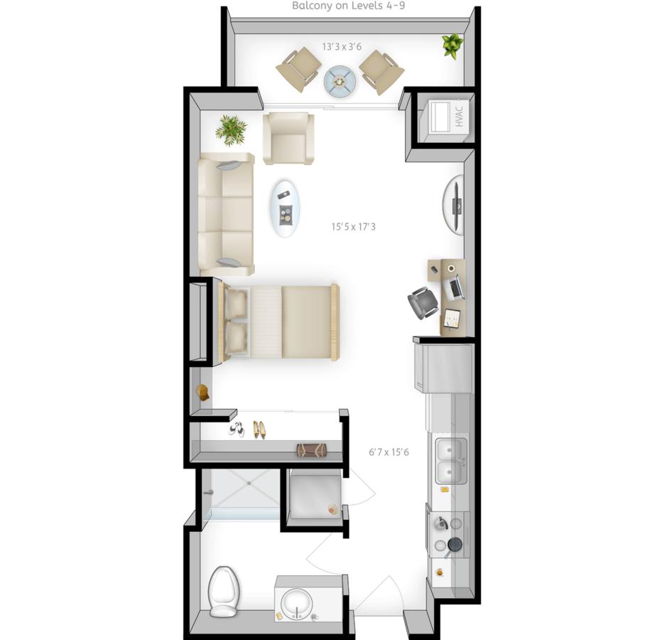 Studio 1 Bathroom Apartment for rent at The Bridges in Minneapolis, MN