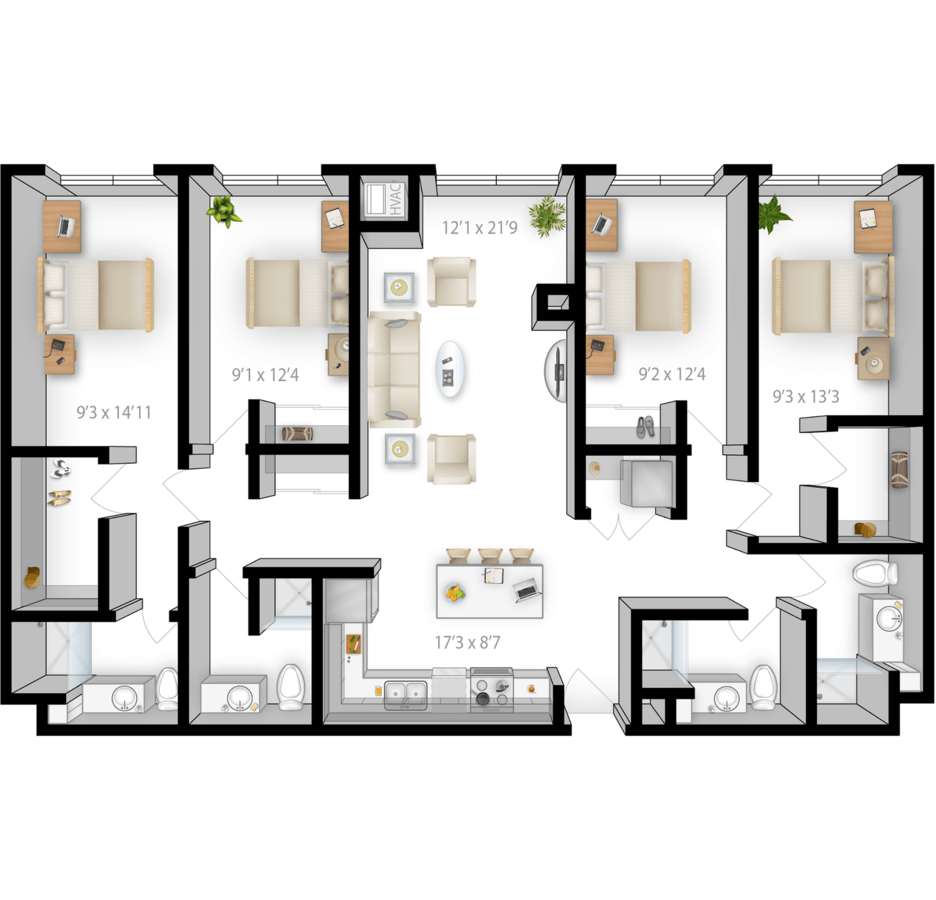 4 Bedrooms 4+ Bathrooms Apartment for rent at The Bridges in Minneapolis, MN
