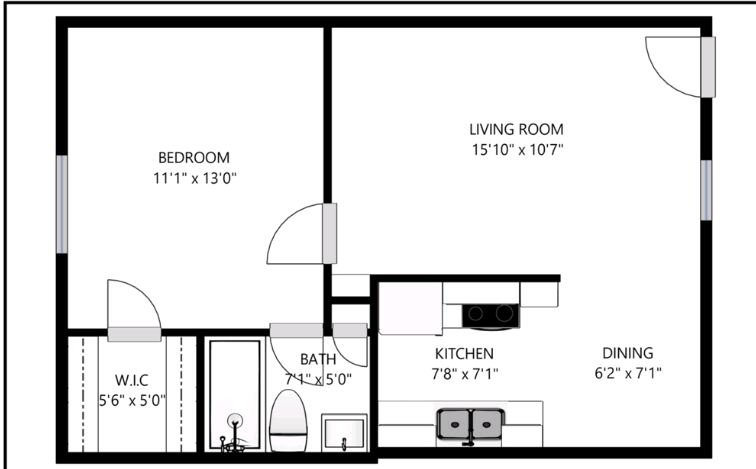 1 Bedroom 1 Bathroom Apartment for rent at Founders Square in Dallas, TX