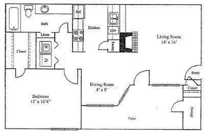 1 Bedroom 1 Bathroom Apartment for rent at Sutter Creek Apartments in Arlington, TX