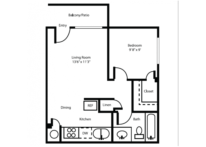 1 Bedroom 1 Bathroom Apartment for rent at Canyon Heights in Tucson, AZ