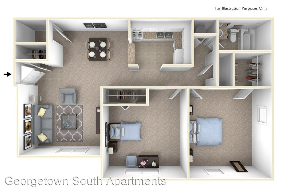 2 Bedrooms 1 Bathroom Apartment for rent at Georgetown South Apartments in Lafayette, IN