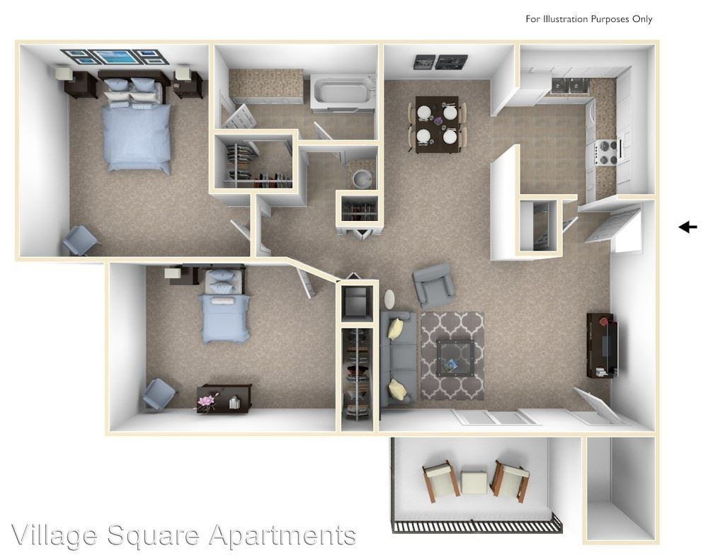 2 Bedrooms 1 Bathroom Apartment for rent at Village Square Apartments in Lafayette, IN