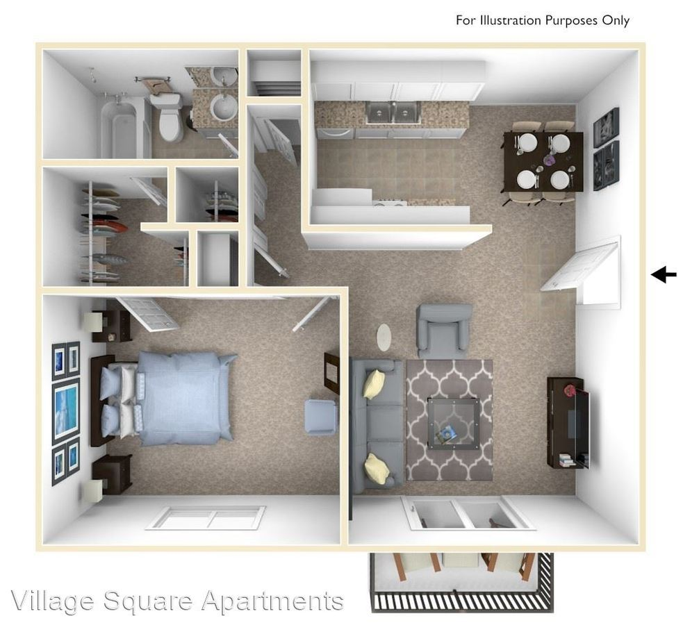 1 Bedroom 1 Bathroom Apartment for rent at Village Square Apartments in Lafayette, IN