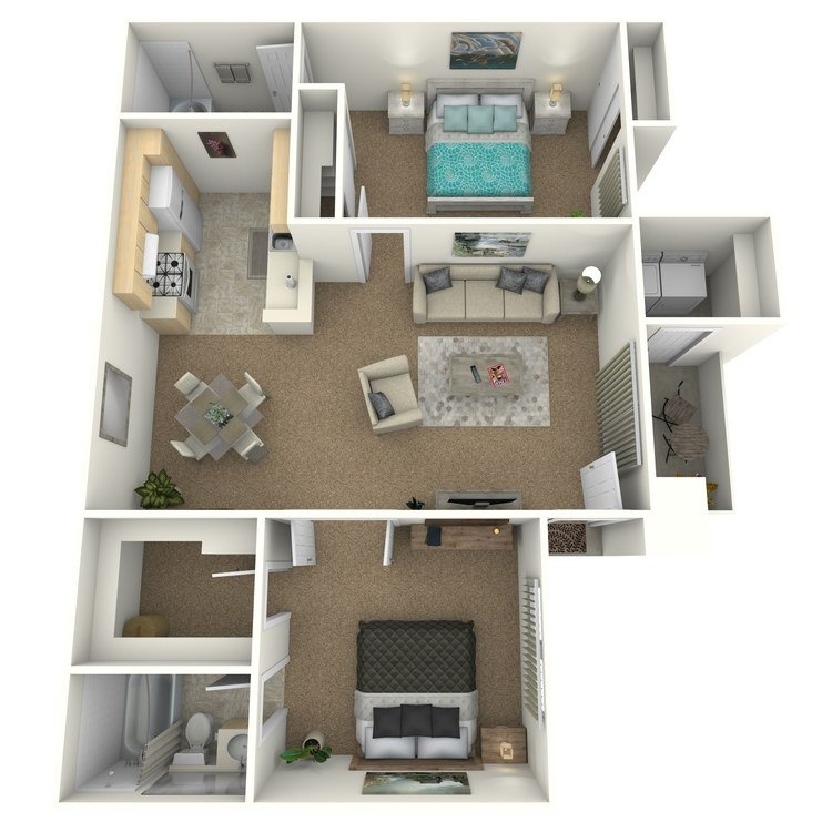 2 Bedrooms 2 Bathrooms Apartment for rent at Palm Court Apartment Homes in Hemet, CA