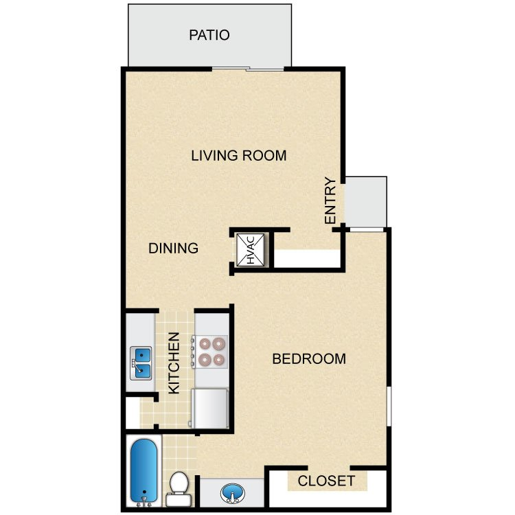 1 Bedroom 1 Bathroom Apartment for rent at Timber Ridge in Houston, TX