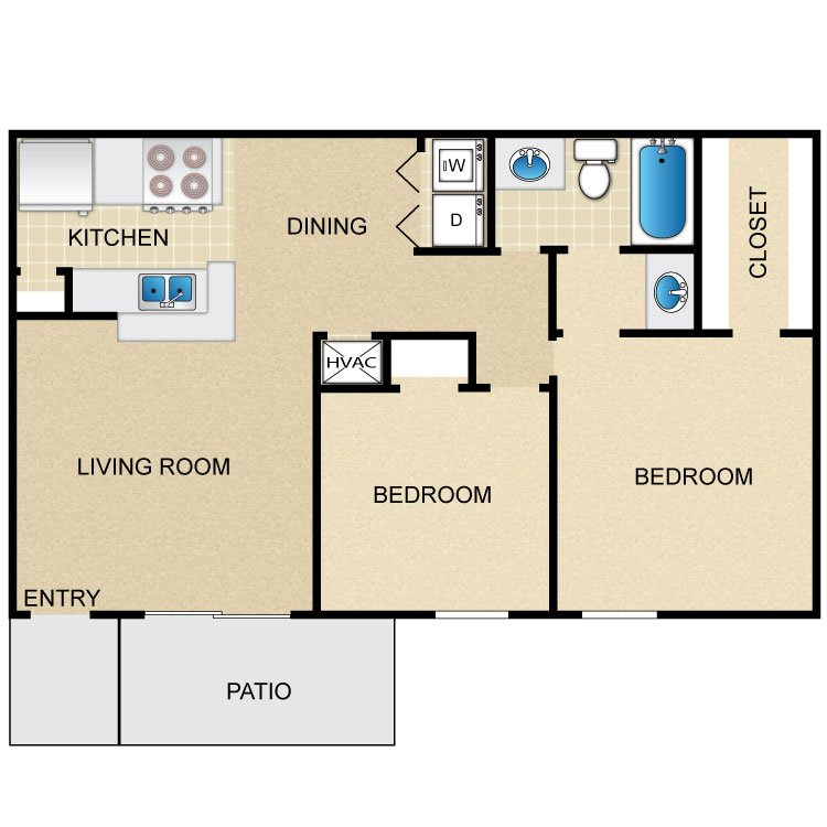 2 Bedrooms 1 Bathroom Apartment for rent at Timber Ridge in Houston, TX