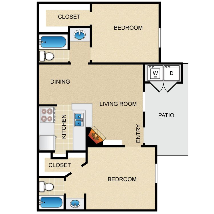 2 Bedrooms 2 Bathrooms Apartment for rent at Timber Ridge in Houston, TX