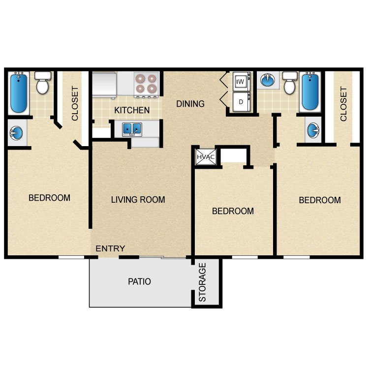 3 Bedrooms 2 Bathrooms Apartment for rent at Timber Ridge in Houston, TX