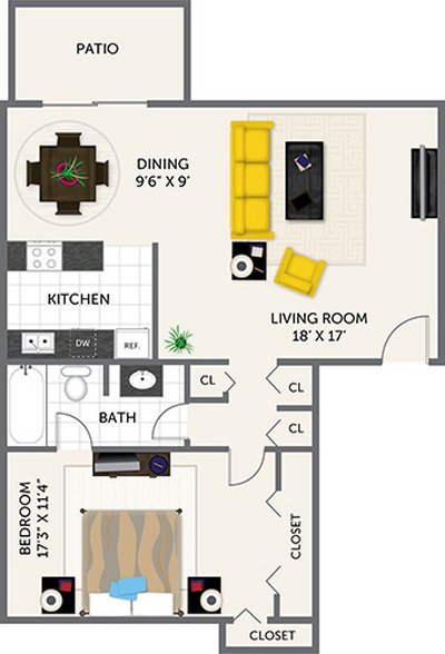 1 Bedroom 1 Bathroom Apartment for rent at Oak Park Apartments in Indianapolis, IN