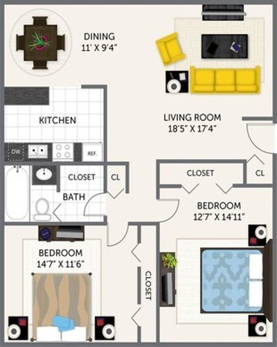 2 Bedrooms 1 Bathroom Apartment for rent at Oak Park Apartments in Indianapolis, IN