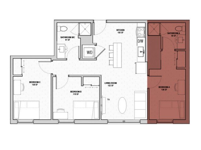 3 Bedrooms 2 Bathrooms Apartment for rent at Student Housing - HERE State College in State College, PA