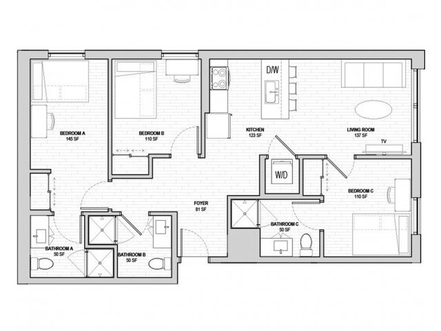 3 Bedrooms 3 Bathrooms Apartment for rent at Student Housing - HERE State College in State College, PA