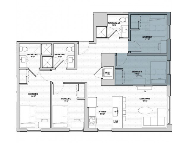 4 Bedrooms 3 Bathrooms Apartment for rent at Student Housing - HERE State College in State College, PA