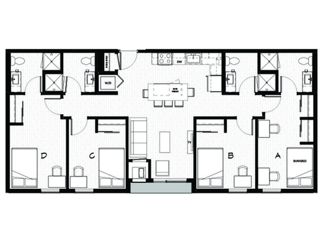 4 Bedrooms 4+ Bathrooms Apartment for rent at Student Housing - Uncommon Dinkytown in Minneapolis, MN