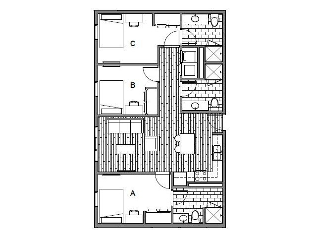3 Bedrooms 3 Bathrooms Apartment for rent at Student Housing - Onyx in Tallassee, FL
