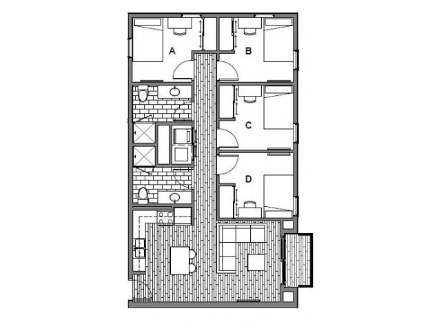 4 Bedrooms 2 Bathrooms Apartment for rent at Student Housing - Onyx in Tallassee, FL