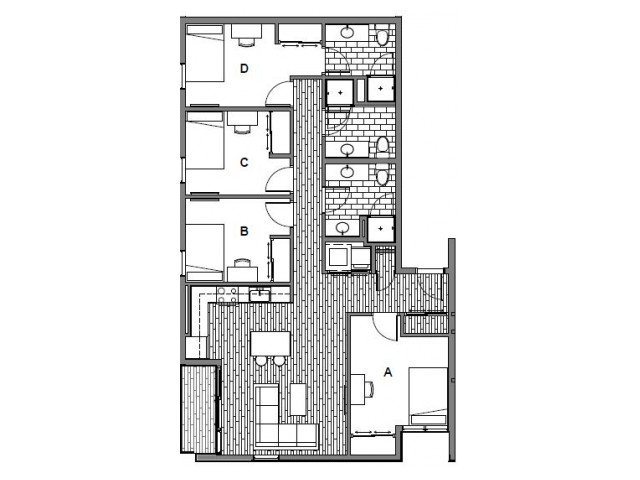 4 Bedrooms 3 Bathrooms Apartment for rent at Student Housing - Onyx in Tallassee, FL
