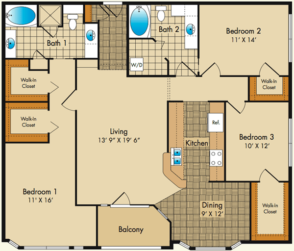 3 Bedrooms 2 Bathrooms Apartment for rent at Dobson Mills in Philadelphia, PA