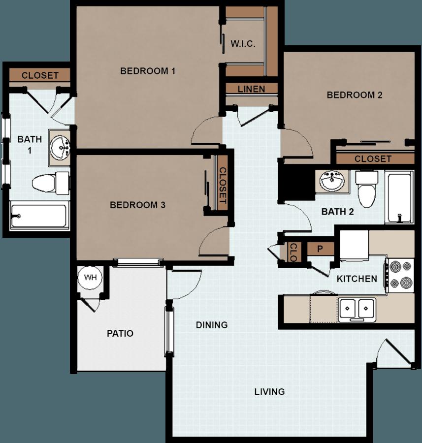 3 Bedrooms 2 Bathrooms Apartment for rent at Rio De Vida Apartments in Mission, TX