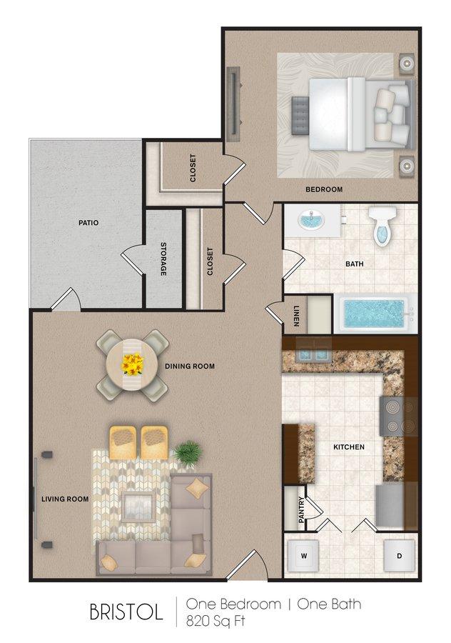 1 Bedroom 1 Bathroom Apartment for rent at Port Royal Apartment Homes in San Antonio, TX