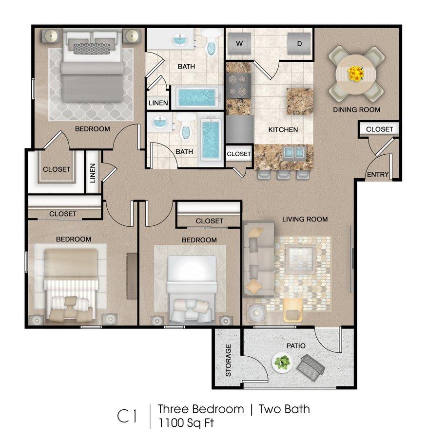 3 Bedrooms 2 Bathrooms Apartment for rent at Palo Alto Apartment Homes in San Antonio, TX