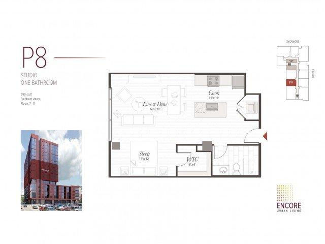 Studio 1 Bathroom Apartment for rent at Encore in Cincinnati, OH
