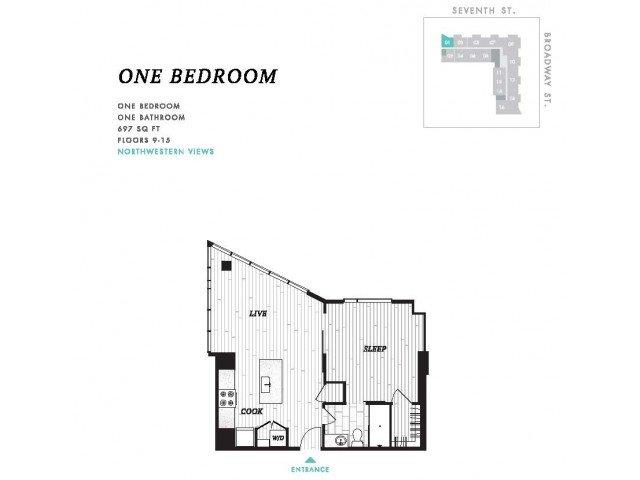 1 Bedroom 1 Bathroom Apartment for rent at Seven at Broadway in Cincinnati, OH