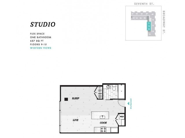 Studio 1 Bathroom Apartment for rent at Seven at Broadway in Cincinnati, OH