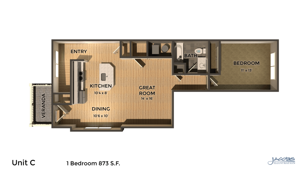 1 Bedroom 1 Bathroom Apartment for rent at East Pointe Apartments in Ithaca, NY