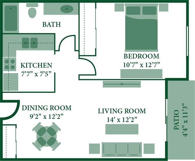 1 Bedroom 1 Bathroom Apartment for rent at Twin Pines in Cincinnati, OH