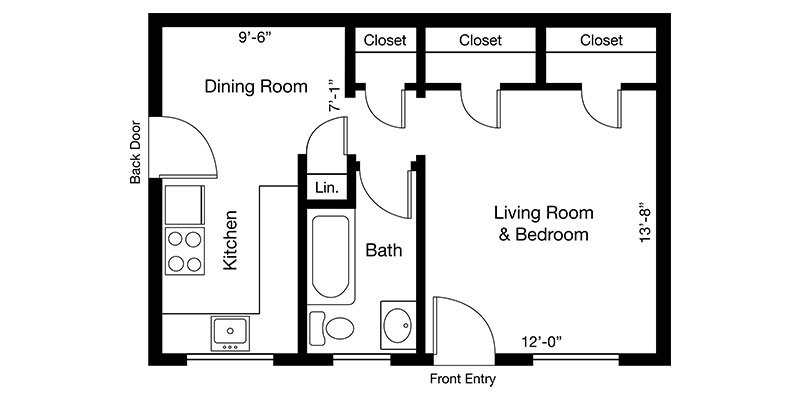 Studio 1 Bathroom Apartment for rent at Country Club Towers And Gardens in Denver, CO