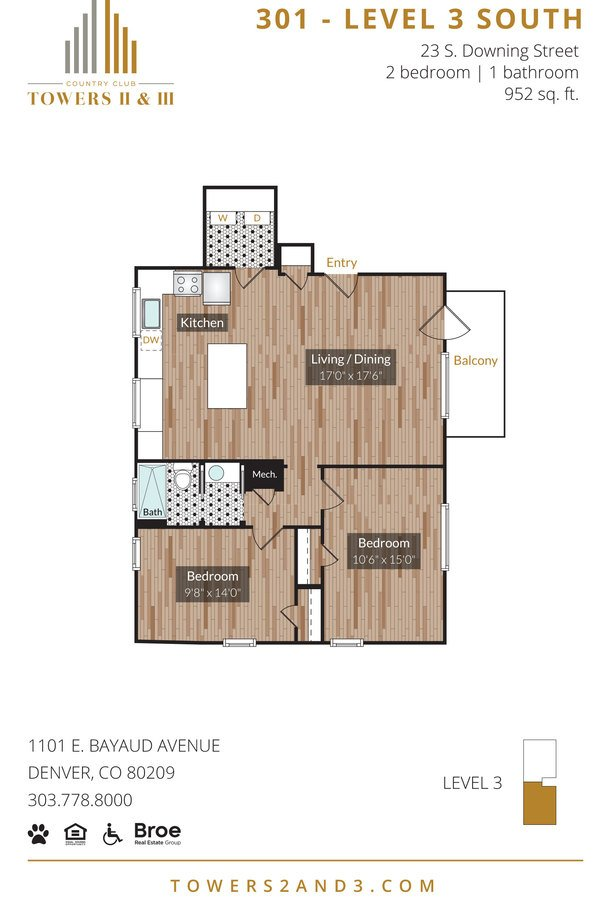 2 Bedrooms 1 Bathroom Apartment for rent at 1101 Country Club Towers II & III in Denver, CO