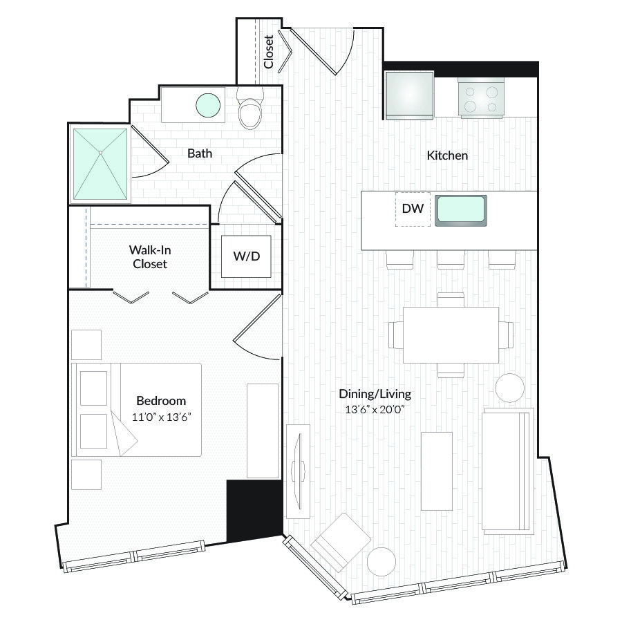 1 Bedroom 1 Bathroom Apartment for rent at 1101 Country Club Towers II & III in Denver, CO