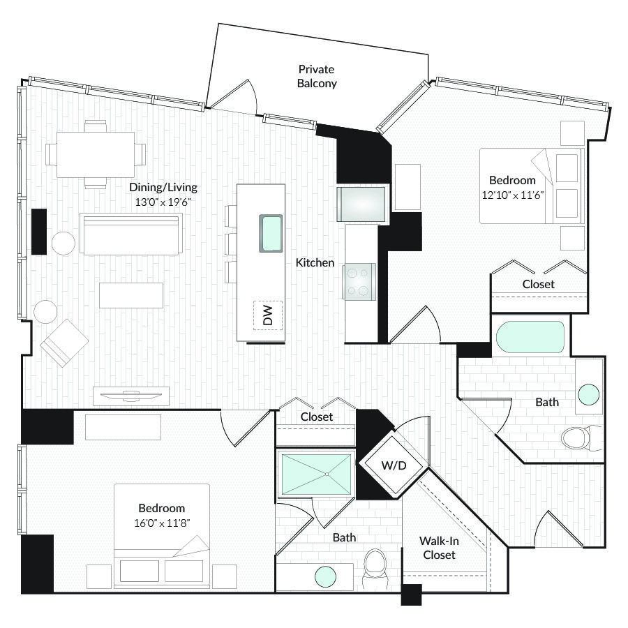2 Bedrooms 2 Bathrooms Apartment for rent at 1101 Country Club Towers II & III in Denver, CO