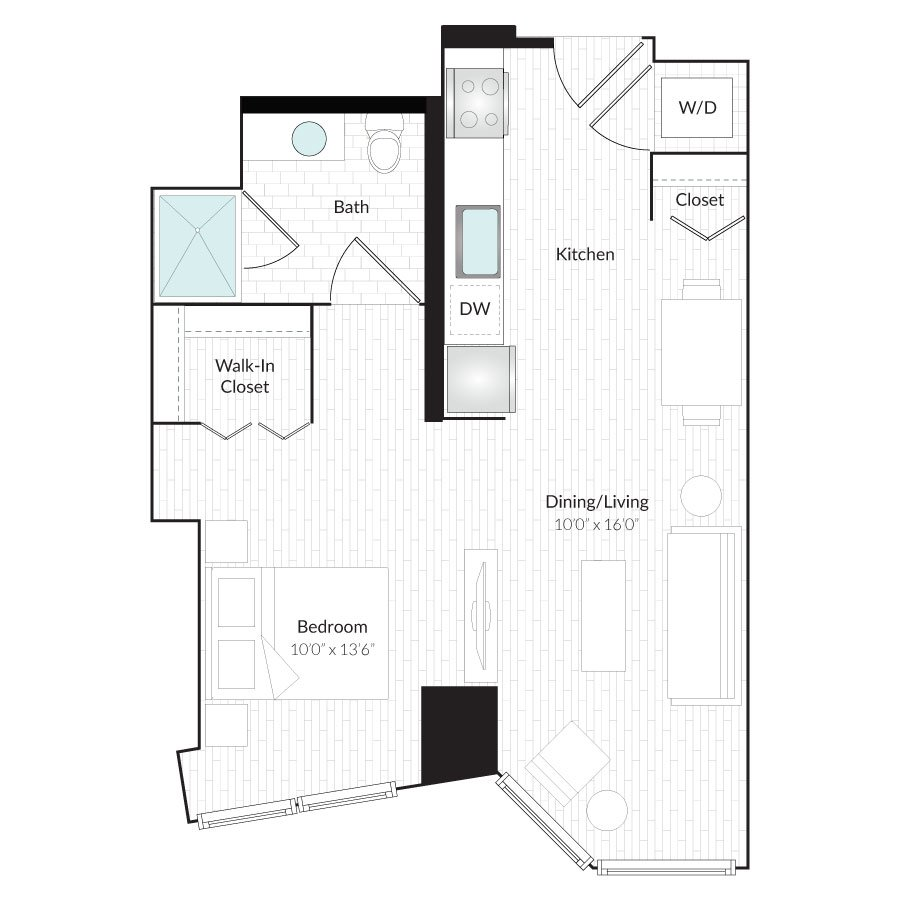 Studio 1 Bathroom Apartment for rent at 1101 Country Club Towers II & III in Denver, CO