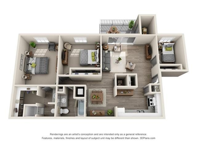 3 Bedrooms 2 Bathrooms Apartment for rent at The Eclipse in Indianapolis, IN