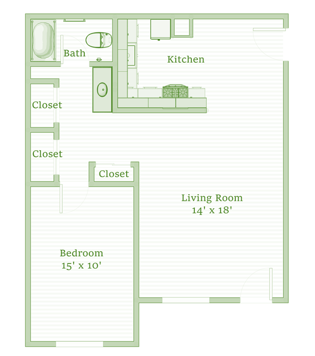 1 Bedroom 1 Bathroom Apartment for rent at The Sycamores in Indianapolis, IN