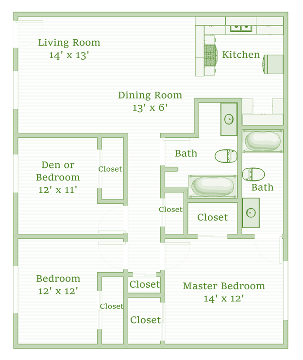 3 Bedrooms 2 Bathrooms Apartment for rent at The Sycamores in Indianapolis, IN