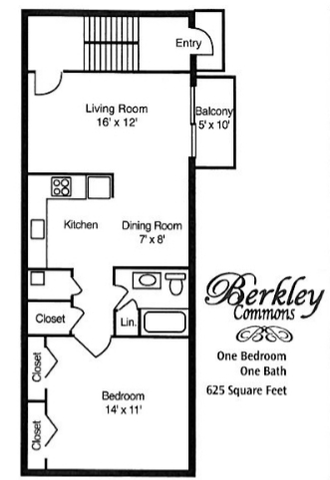 1 Bedroom 1 Bathroom Apartment for rent at Berkley Commons Apartments in Indianapois, IN