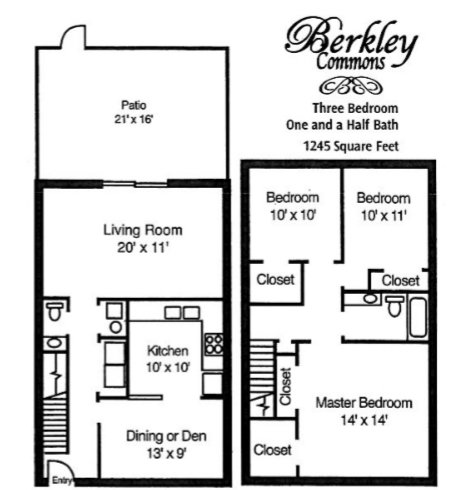 3 Bedrooms 1 Bathroom Apartment for rent at Berkley Commons Apartments in Indianapois, IN